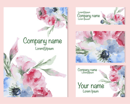 creation kit: Set of business card and invitation card templates with watercolor flower. Vector corporate identity, Watercolor flower. Illustration
