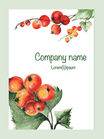 currant: Card templates with watercolor currant. Watercolor currant.