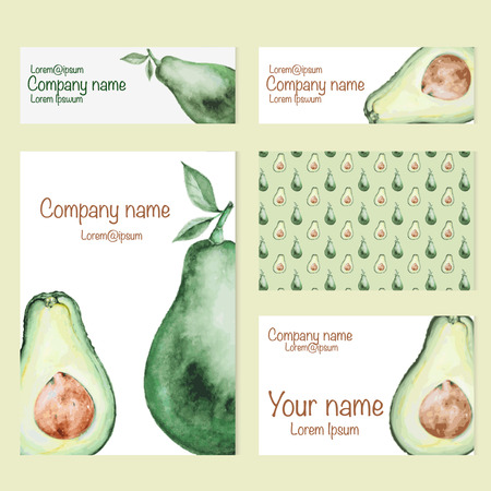 creation kit: Set of business card and invitation card templates with watercolor avocado. Vector corporate identity,