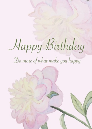 peon: Happy birthday cards with watercolor blooming Peon.