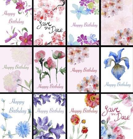 手描き水彩の花カードのセットです。夏の結婚式、春のお祝いカードのデザイン要素です。完璧な花の要素は日付カードを保存します。 写真素材