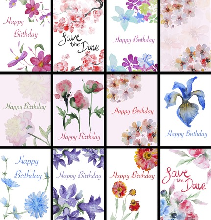 Set of handpainted watercolor flowers card. Design element for summer wedding, spring congratulation card. Perfect floral elements for save the date card. Foto de archivo