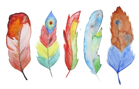feather: Set of watercolor feathers. A set of four color watercolor feathers Stock Photo