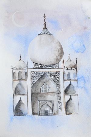 namaaz: Ramadan Kareem. Mosque night. Bright watercolor stains background. Watercolor illustration