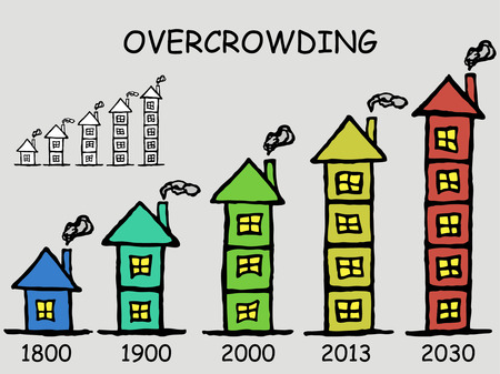 overcrowded: Problem of overcrowded population. infographics elements, doodle vector symbols. Illustration
