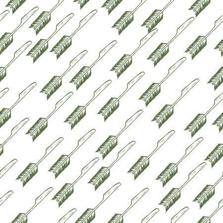 grunge flatware: Pattern set of hand-drawn doodle knife with feathers. Rustic design pattern. Boho design pattern. Illustration