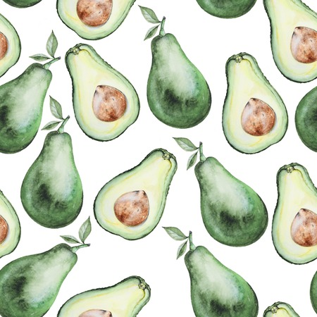 avocados: Watercolor seamless pattern with avocados. Hand-drawn background. Real watercolor drawing. Design element avocado pattern. Stock Photo