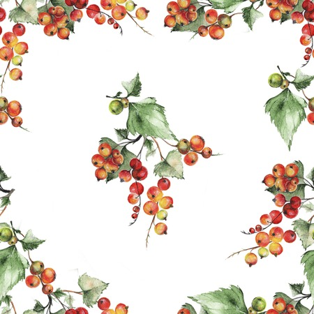red currant: Seamless pattern with watercolor illustration of red currants. Watercolor red currant pattern Stock Photo