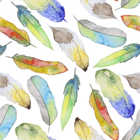 Seamless watercolor pattern with feathers. Vintage seamless pattern with feathers. Watercolor paint. Feathers pattern for wallpaper design. Watercolor seamless background. Reklamní fotografie - 44787933