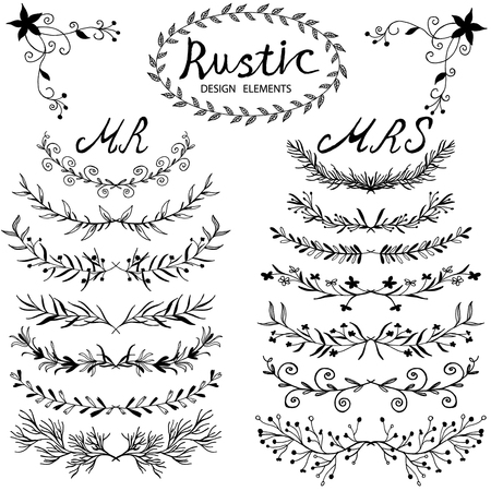Hand-drawn vector floral design elements in rustic style. Vintage set of hand drawn rustic laurels. Floral vector graphic. Nature design elements. Vettoriali