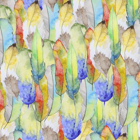 pluma: Patrón de la acuarela inconsútil con las plumas. Modelo inconsútil de la vendimia con las plumas. Pintura de la acuarela. Patrón de plumas para el diseño de fondo de pantalla. Acuarela de fondo sin fisuras. Foto de archivo