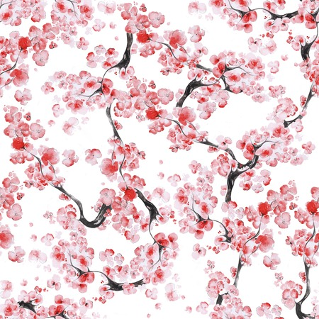 Seamless pattern with watercolor branches of blossom sakura on white background