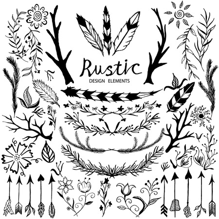 rustic: Hand-drawn vector floral design elements in rustic style. Vintage set of hand drawn rustic laurels. Floral vector graphic. Nature design elements. Illustration