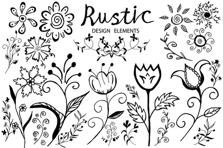 sketched arrows: Vector floral set. Hand Drawn Doodles Flowers and leaves. Doodles flowers. Design elements for wedding, Valentines day, holidays, birthday, easter, mothers day cards. Illustration