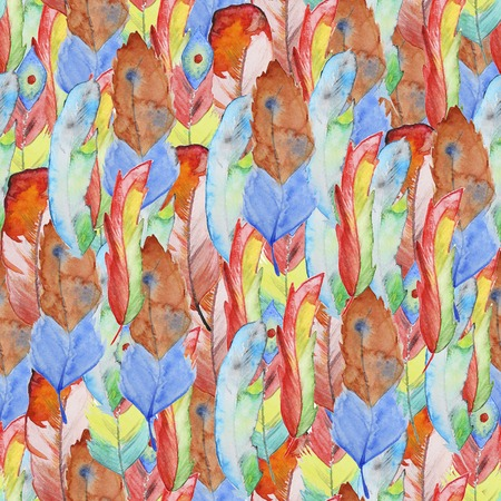 aboriginal art: Seamless watercolor pattern with feathers. Vintage seamless pattern with feathers. Watercolor paint. Feathers pattern for wallpaper design. Watercolor seamless background. Australian aboriginal ornament