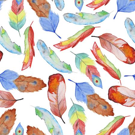 羽とのシームレスな水彩パターン。羽を持つヴィンテージのシームレスなパターン。水彩絵の具。羽の壁紙デザインのパターン。水彩のシームレス