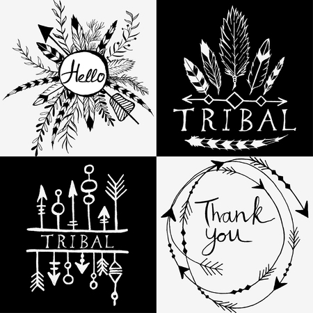 Hand-drawn vector floral design elements in tribal style. Vintage set of hand drawn tribal design element.  Whith letters