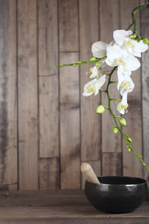 singing bowl: Flowers white orchid on a dark wooden background close-up. The shape of the frame. Tibetian singing bowl Archivio Fotografico