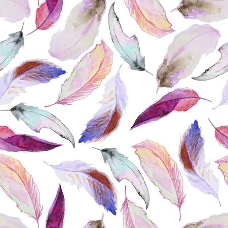 Seamless Aquarellmuster mit Federn. Jahrgang nahtlose Muster mit Federn. Aquarell malen. Federn Muster für Wallpaper Design. Aquarell nahtlose Hintergrund. Standard-Bild - 45882679
