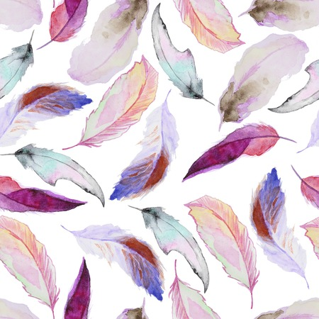 a feather: Seamless watercolor pattern with feathers. Vintage seamless pattern with feathers. Watercolor paint. Feathers pattern for wallpaper design. Watercolor seamless background.