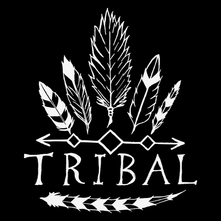 tribales: Elementos de diseño vectorial dibujados a mano en el estilo tribal. Vintage mano dibujada elemento de diseño tribal. Vectores