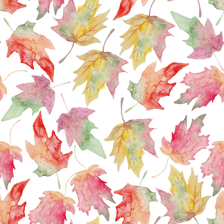 fall leaf: Watercolor maple autumn leaf - seamless pattern. Hand drawn boho style design element. Isolated seamless pattern watercolor for papper, textile, fabric and design. Stock Photo