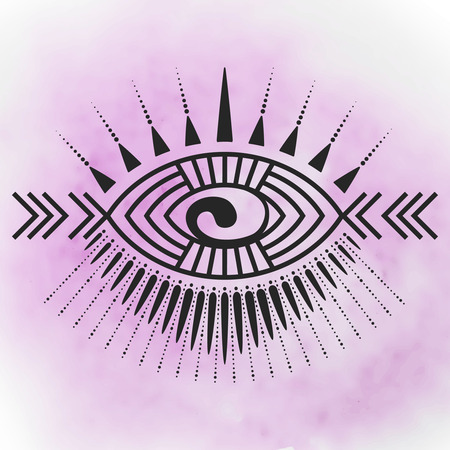 Abstract eye tattoo emblem with tribal style elements, fethers, Maori Kory symbol - vector illustration on watercolor background. Posible use for tattoo, logo, print for t-shirt. Illustration