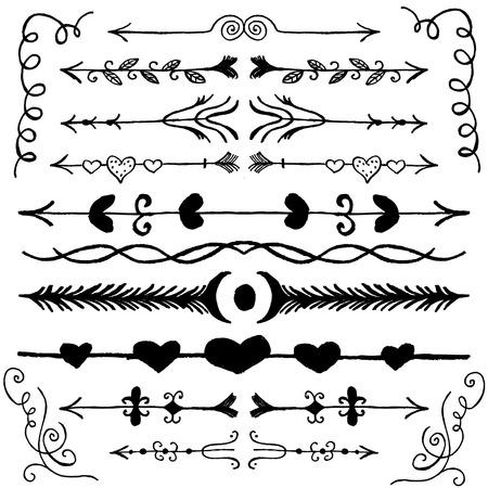 sketched arrows: Set of Hand Drawn Doodle Design Elements. Decorative Floral Dividers, Arrows, Swirls. Vintage Vector Illustration.