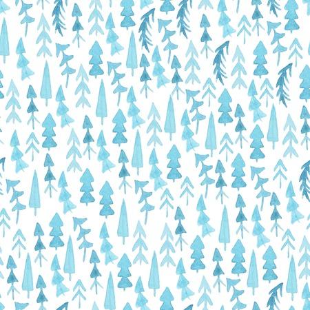 bomen waterverf het Kerstmis. Naadloos patroon. Naadloos patroon met blauwe aquarel sparren