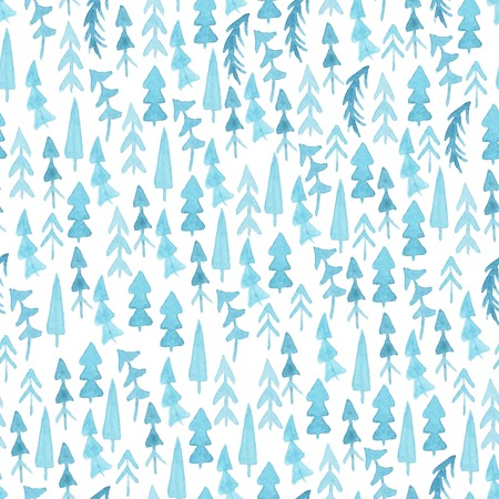 winter garden: Watercolor Christmas trees. Seamless pattern. Seamless pattern with blue watercolor fir trees