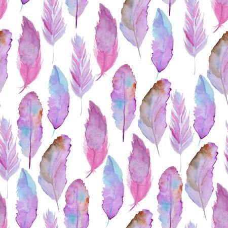 feather: Patr�n de la acuarela incons�til con las plumas. Modelo incons�til de la vendimia con las plumas. Pintura de la acuarela. Patr�n de plumas para el dise�o de fondo de pantalla. Acuarela de fondo sin fisuras. Foto de archivo