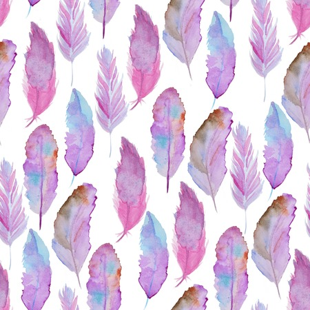pens: Seamless watercolor pattern with feathers. Vintage seamless pattern with feathers. Watercolor paint. Feathers pattern for wallpaper design. Watercolor seamless background.
