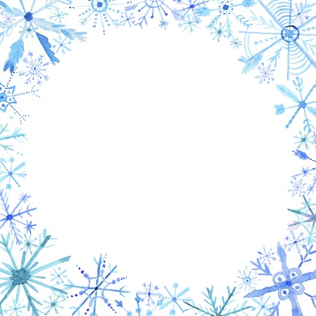 Watercolor snowflakes frame. Blue snowflakes on a white background. Christmas watercolor hand drawn card.