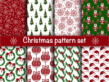 cartoon trees: Set of seamless christmas patterns. Set of winter holiday backgrounds. Collection of seamless patterns with red and white colors. Used for  wrap, textile, paper. Merry Christmas and Happy New Year.