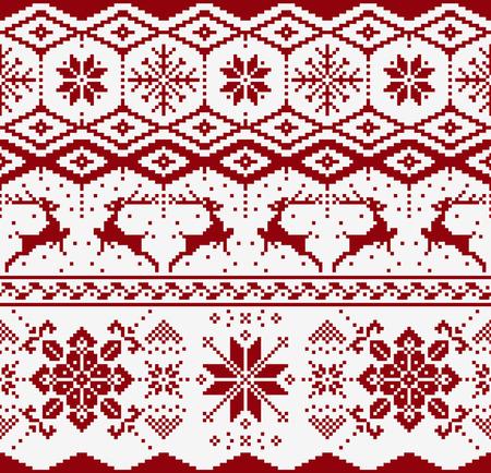 白い背景の上クリスマス ニット シームレス パターン。Scandynavian セーター スタイル。