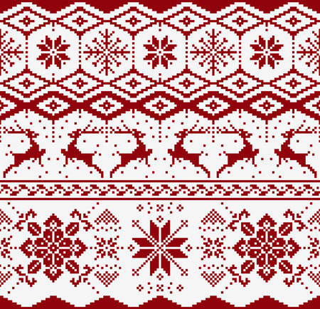Christmas knitted seamless pattern on white background. Scandynavian sweater style.