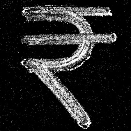 money in the hand: Hand-drawn Rupee sign on chalkboard. Elements for your design.