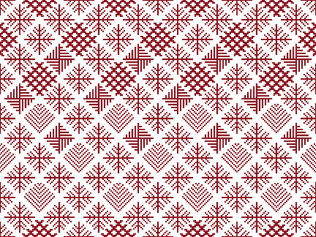 crocheted: Norwegian seamless christmas patterns. Winter holiday backgrounds. Seamless patterns with red and white colors. Used for  wrap, textile, paper. Merry Christmas and Happy New Year. Illustration