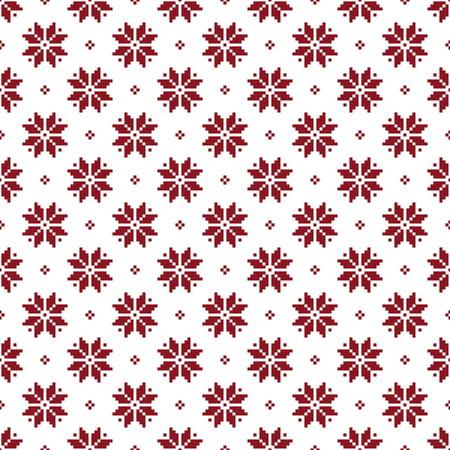 Norwegian seamless christmas patterns. Winter holiday backgrounds. Seamless patterns with red and white colors. Used for  wrap, textile, paper. Merry Christmas and Happy New Year. Ilustração