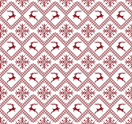 鹿と雪でシームレスなクリスマスのパターン。冬の休日の背景。赤と白の色とのシームレスなパターン。ラップ、繊維、紙に使用されます。メリー   イラスト・ベクター素材