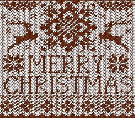 メリー クリスマス カード。北欧スタイルの鹿と雪のフレークとニット パターン。鹿と茶色のセーター。