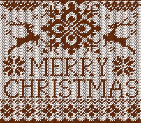 scandinavian christmas: Merry Christmas card. Scandinavian style knitted pattern with deer and snow flakes. Brown sweater with deers.