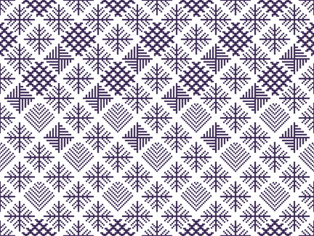 crocheted: Norwegian seamless christmas patterns. Winter holiday backgrounds. Seamless patterns with purple and white colors. Used for  wrap, textile, paper. Merry Christmas and Happy New Year. Illustration