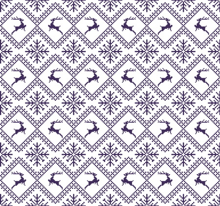 gift paper: Seamless christmas patterns with deers and snow. Winter holiday backgrounds. Seamless pattern with purple and white colors. Used for  wrap, textile, paper. Merry Christmas and Happy New Year. Illustration