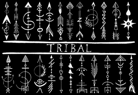 ancient geometric: Tribal Hand Drawn arrow design elements, ethnic collection,  tribal art, Tattoo isolated on black Illustration