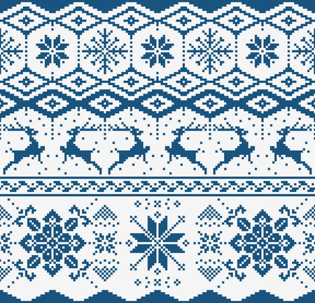 scandynavian: Christmas blue knitted seamless pattern on white background. Scandynavian sweater style. Illustration