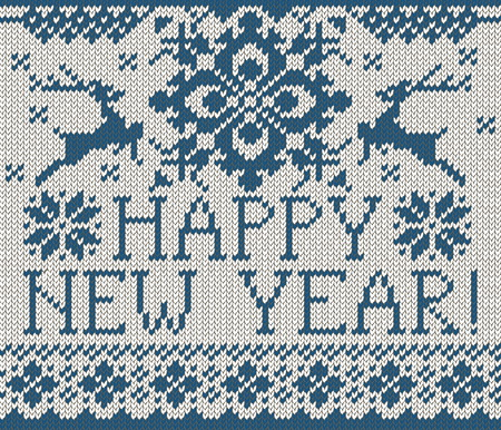 stockinet: Happy New Year seamless pattern. Scandinavian style knitted seamless pattern with deer and snowflakes. Sweater with deers.