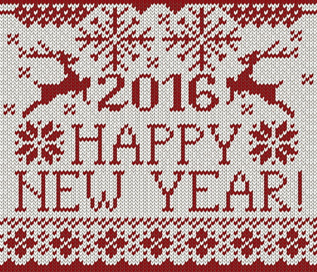 stockinet: Happy New Year seamless red pattern. Scandinavian style knitted seamless pattern with deer and snowflakes. Sweater with deers. Illustration