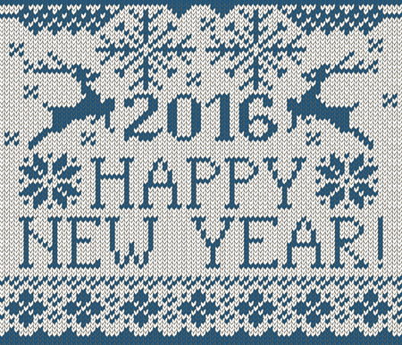stockinet: Happy New Year seamless blue pattern. Scandinavian style knitted seamless pattern with deer and snowflakes. Sweater with deers. Illustration