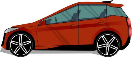 hatchback: Vector modern red car. 5 doors hatchback.